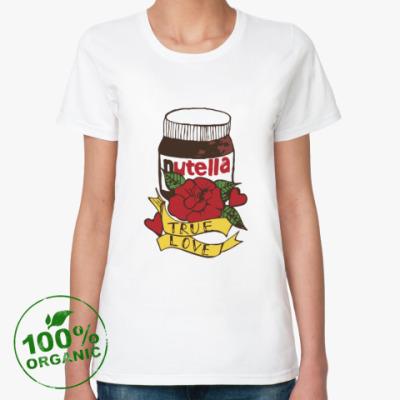Женская футболка из органик-хлопка Nutella Нутелла Шоколад