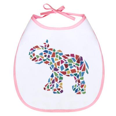 Слюнявчик Слон - мозаика