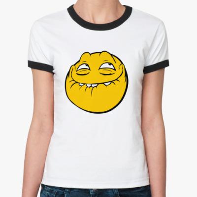Женская футболка Ringer-T Trollface