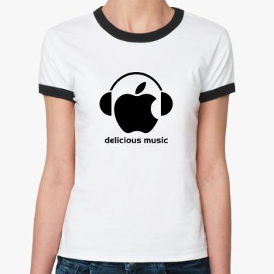 Женская футболка Ringer-T Delicious music