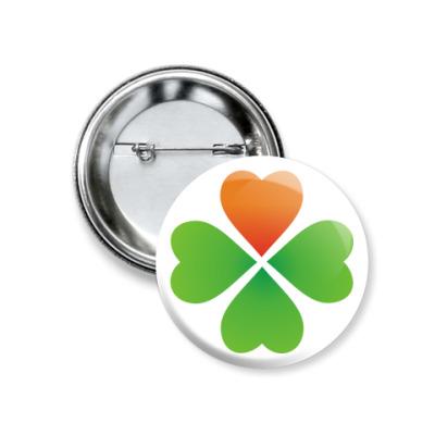 Значок 37мм 'Ирландский клевер'