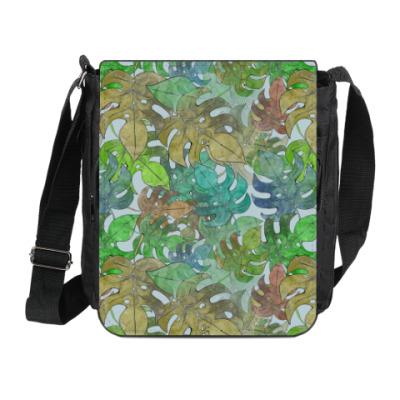 Сумка на плечо (мини-планшет) Листья, паттерн