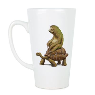 Чашка Латте Ленивец на черепахе