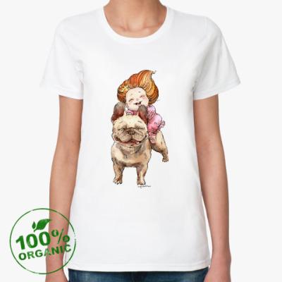 Женская футболка из органик-хлопка Девочка и бульдог