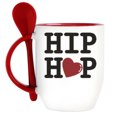 Кружка с ложкой Люблю хип-хоп