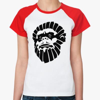 Женская футболка реглан Лицо обезьяны