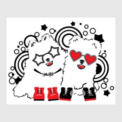 Постер Милые собаки в очках и музыкальными пузырьками