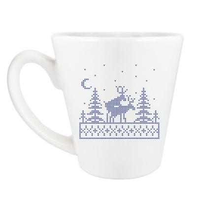 Чашка Латте Олени в лесу