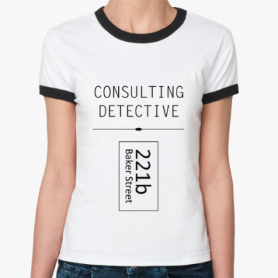 Женская футболка Ringer-T Consulting Detective