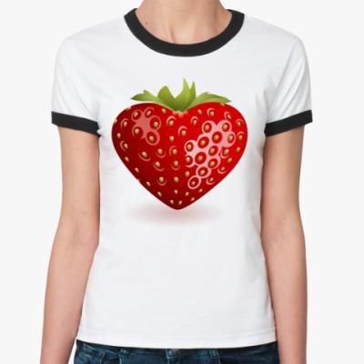Женская футболка Ringer-T Клубника