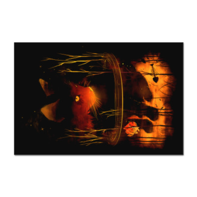 Наклейка (стикер) Ночной пруд