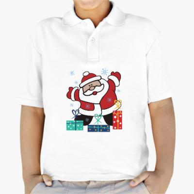 Детская рубашка поло Дед Мороз с подарками