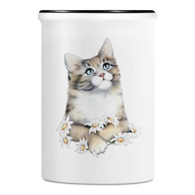 Подставка для ручек и карандашей Кот в ромашках