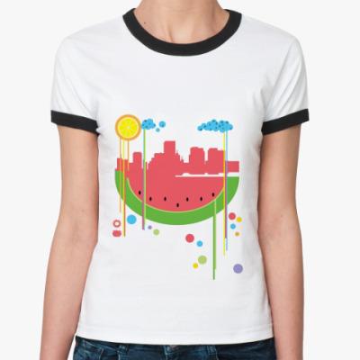 Женская футболка Ringer-T Арбузный City
