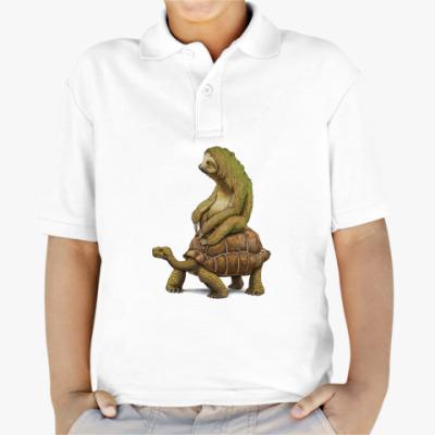 Детская рубашка поло Ленивец на черепахе