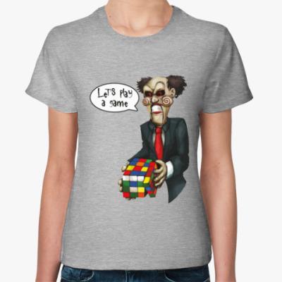 Женская футболка Пила и Кубик Рубика