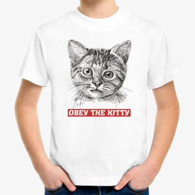 Детская футболка Obey. Кот. Кошка. Cat. Kitty.
