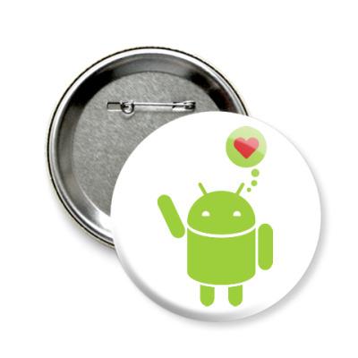 Значок 58мм Love Android