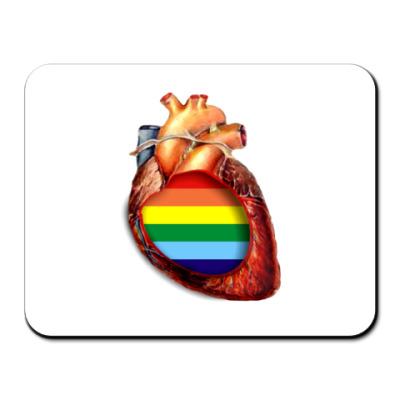 Коврик для мыши сердце с радугой