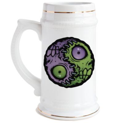 Пивная кружка Зомби инь-ян