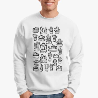 Свитшот Коллекция смешных кактусов в горшочках