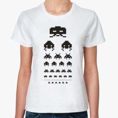 Классическая футболка Пришельцы пиксели андроиды