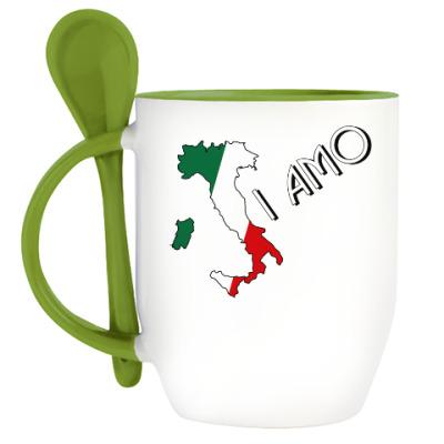 Кружка с ложкой Я люблю тебя по-итальянски