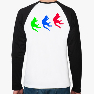 Футболка реглан с длинным рукавом Падающие коты