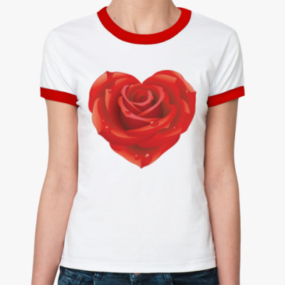 Женская футболка Ringer-T I love you - Любовь в сердце