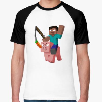 Футболка реглан Верхом на свинье Minecraft