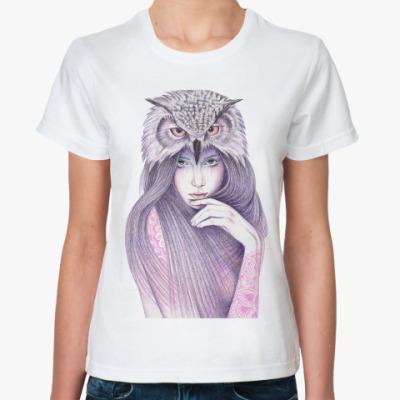 Классическая футболка Девушка Сова