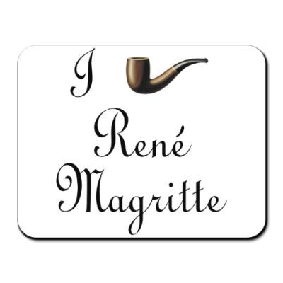 Коврик для мыши Я люблю Рене Магритта (трубка)