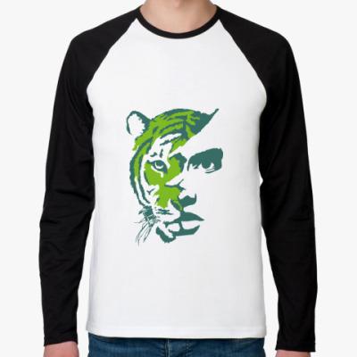 Футболка реглан с длинным рукавом Тигр зеленый