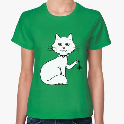 Женская футболка Кот с паучком