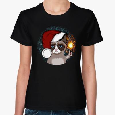 Женская футболка Новогодний грустный кот
