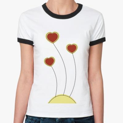 Женская футболка Ringer-T Пунктирное сердце