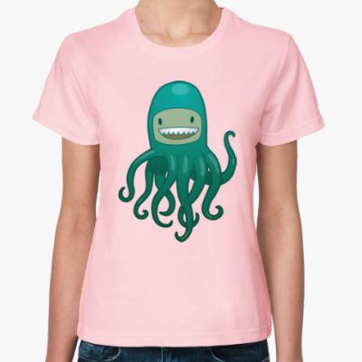 Женская футболка Море. Спрут. Пират. Осьминог.