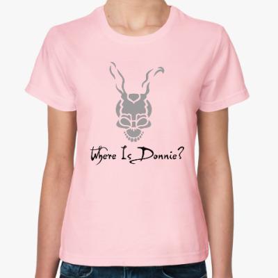 Женская футболка Где Донни?