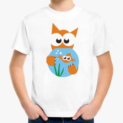 Детская футболка Кот и рыбка