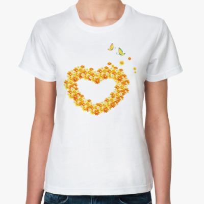 Классическая футболка Сердце и бабочки
