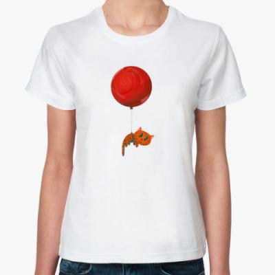 Классическая футболка  «Летящий коте»