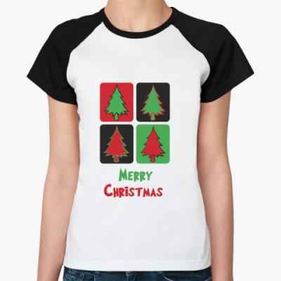 Женская футболка реглан  Christmas