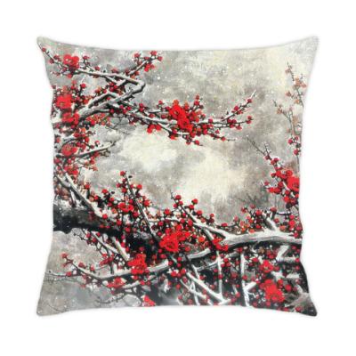 Подушка Японская вишня зимой