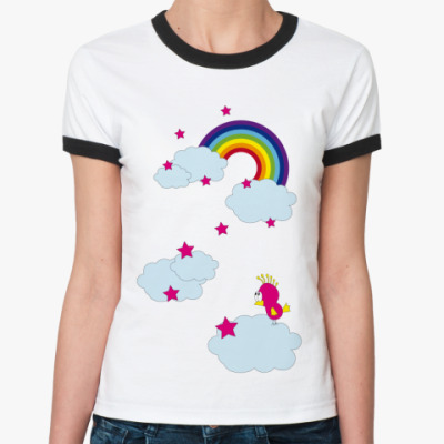 Женская футболка Ringer-T   Rainbow