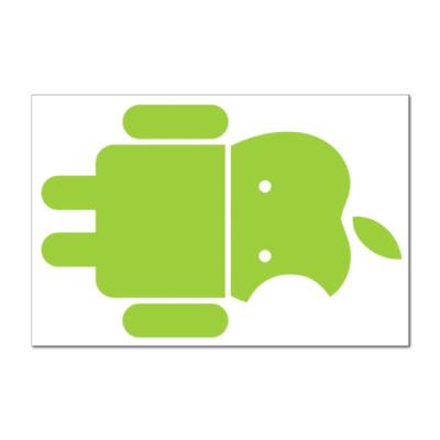 Наклейка (стикер) Андроид голова-яблоко