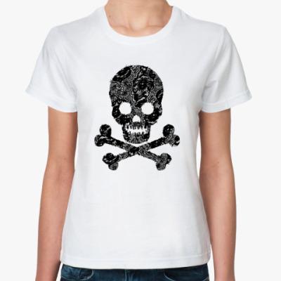 Классическая футболка  Кружевной череп