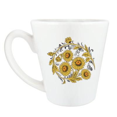 Чашка Латте Цветочные узоры