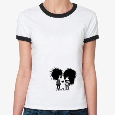 Женская футболка Ringer-T   Эмо-Любовь
