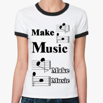 Женская футболка Ringer-T 'Make Music'