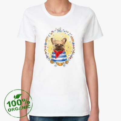 Женская футболка из органик-хлопка Французский бульдог